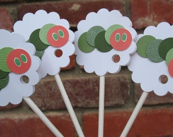 Happy Birthday Decorations, Party Decor, First Birthday, Caterpillar Cupcake Toppers (12 Toppers)