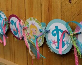 Birthday Party Decoration, Mermaid Happy Birthday Banner, Custom Party Decoration, Under the Sea, Girl birthday