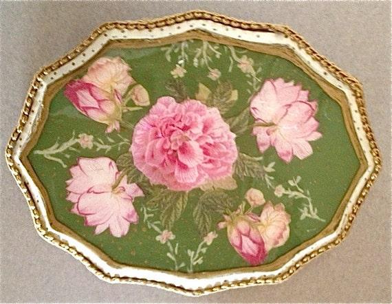 Vintage Handcrafted Wood Pink Peonie Perfume Tray