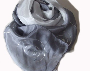 hand-painted silk scarf, in two lovely shades of  grey  with silver swirl