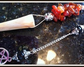 Enchanted Willow Wood Pendulum / Carnelian & Black Obsidian / Hand Carved /  Magickal Willow  /  Dowsing / Wicca Wiccan Witch Pagan