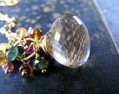 Golden Rutilated Quartz Necklace Tourmaline Cluster Pendant 24k Gold Vermeil EternoJewelry