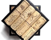 Black Wine Cork Tile Coasters-Set Of Four - Wedding, Housewarming, Hostess, Christmas, Wine Lover Gift