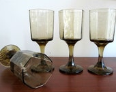 Vintage Wine Glasses in Smoky Brown - Mid Century Textured Glassware - Entertaining Home Decor - Set of 4