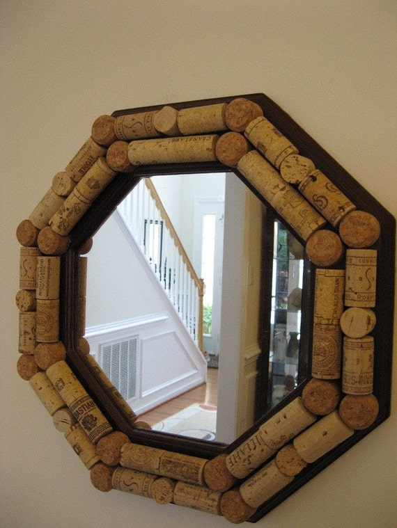 Burgundy wine cork mirror