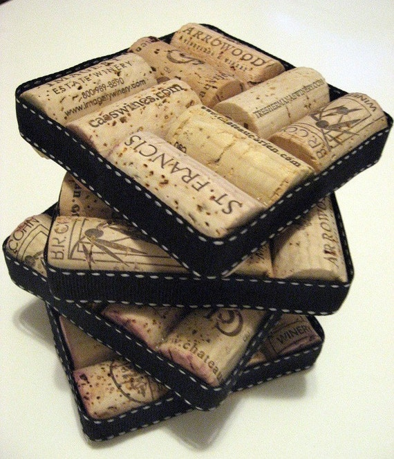 Set of 4 Black and White Ribbon Wrapped Wine Cork Coasters
