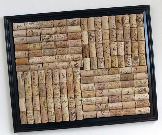 Wine Cork Board with Brown Frame - Office, Kitchen, Organizing, Dorm Room, Home Decor