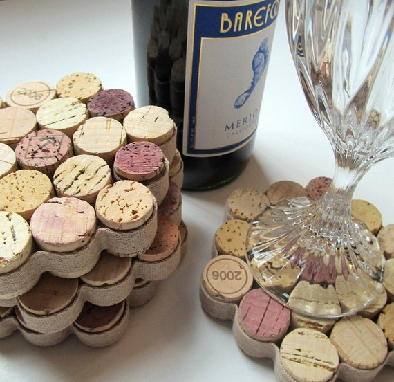 Honeycomb Wine Cork Coasters with Khaki Ribbon -Set of Four - Housewarming Hostess Christmas Wedding Gift Idea - WineAccessories Home Decor