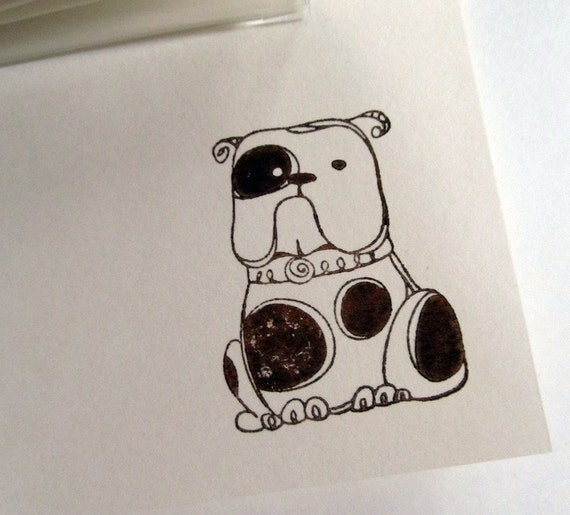 Hand Stamped Note cards- BULLDOG- Set Of Six