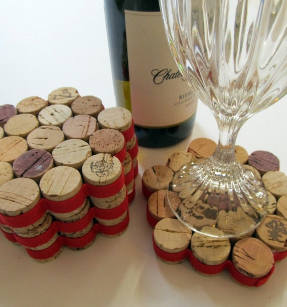 Red Ribbon Wrapped Honeycomb Wine Cork Coasters - Set Of Four -  Wedding, Hostess, Christmas, Valentine's Day Gift, Rustic Home Decor