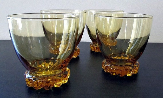 Vintage Amber Barware Set of Four Libbey Juice Size Glasses