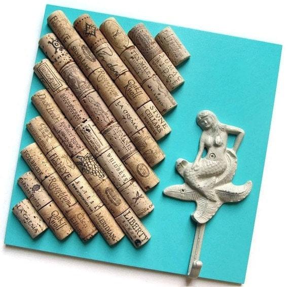 Wine Cork Board with Mermaid Hook
