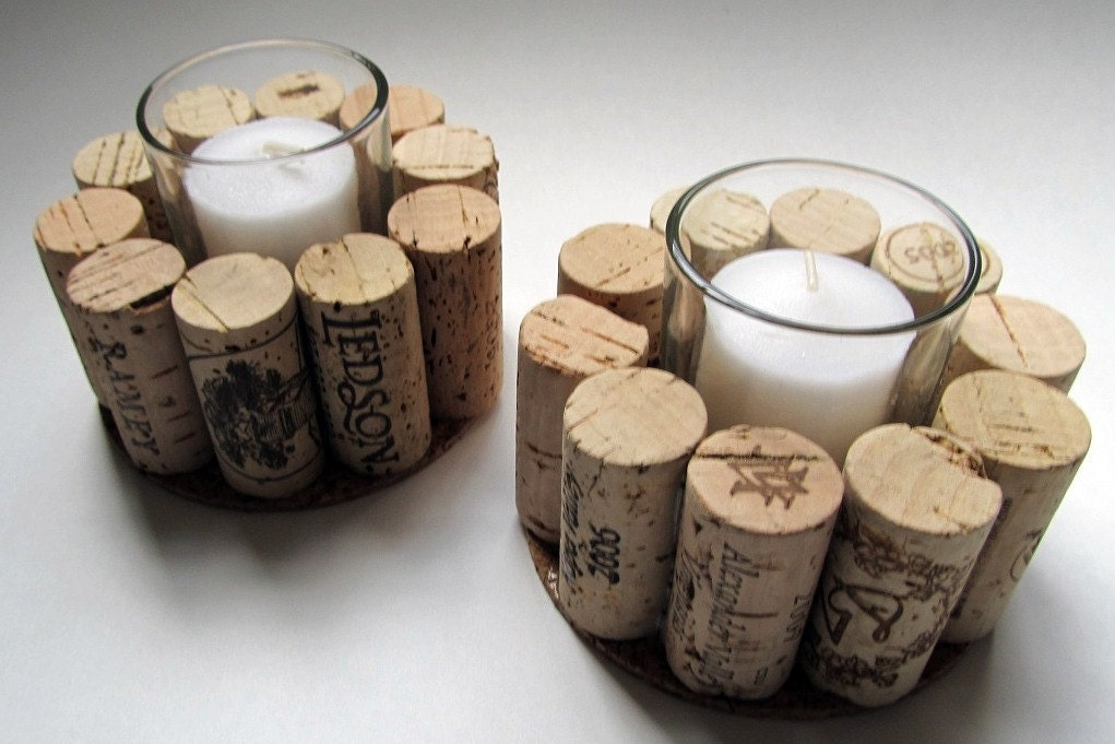 Wine Cork Votive Candle Holder Set Of Two Rustic Cottage