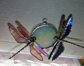 Pink and Purple Stained Glass Dragonfly Life Mates Suncatcher