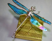 Iridescent Aqua Stained Glass Dragonfly
