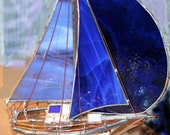 Dark Blue Medium Stained Glass Boat Sloop with Spinnaker
