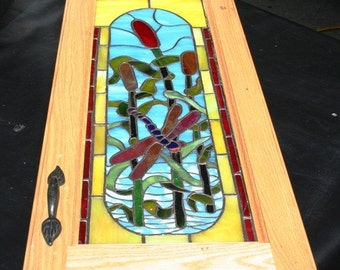 Dragonfly  Stained Glass Cupboard Door Insert