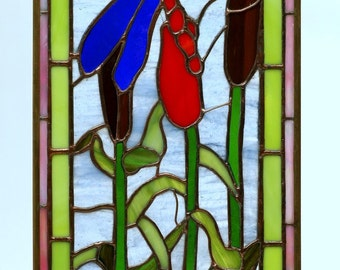 Dragonfly  Stained Glass Panel Window Art