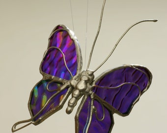 Small Purple Stained Glass Butterfly