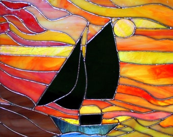 Sunset Schooner Stained Glass Panel