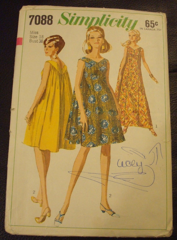 Vintage Simplicity 7088 Swing Dress Sewing Pattern 18 By