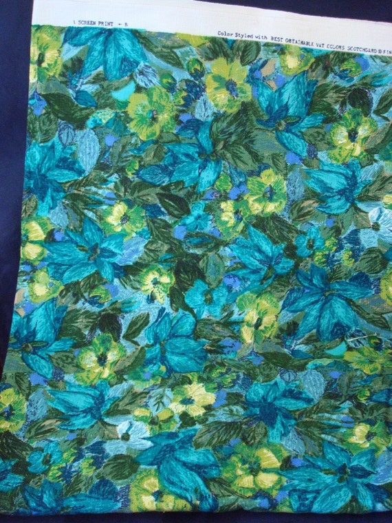 SALE - Vintage Upholstery Scotchgard Floral Blue Flowers Fabric 4 Yards