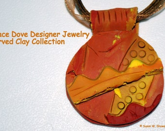 Rust, Mustard & Brown Hand Carved Clay Pendant by Designer Susan W. Showalter