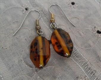 Brown Speckle Stone Earrings