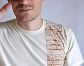 SALE - Mens Organic Cotton Art T-shirt in Tribal Geometric- Large