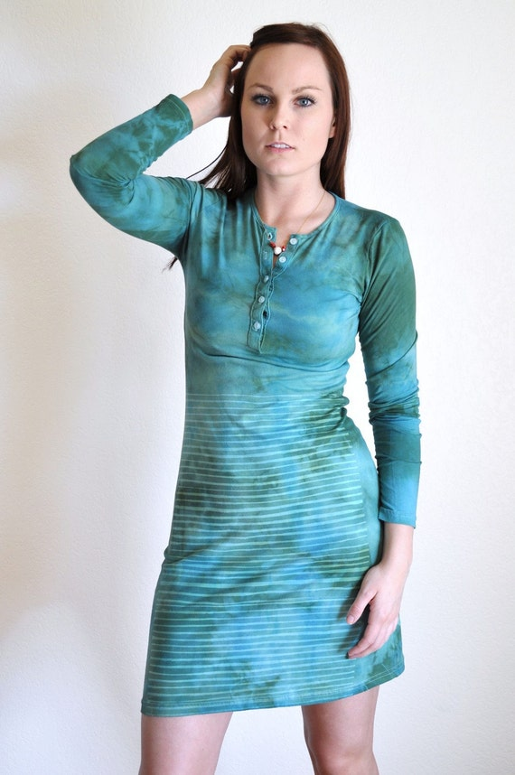 SALE Hand Printed and Dyed Long Sleeve Stripe Dress -  Turquoise