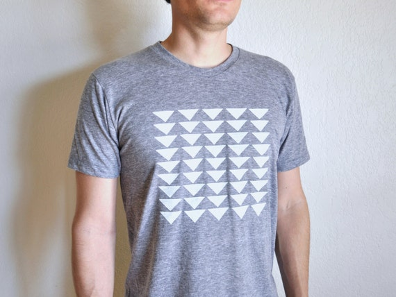 Triangle Grid Hand Screen Printed Gray Track Men's T-shirt - Sale