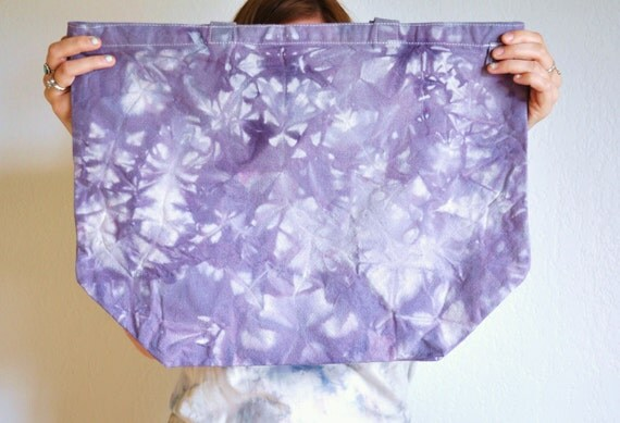 Hand Dyed Canvas Tote - Eco Friendly Recyced Cotton Amethyst Pattern- On Sale