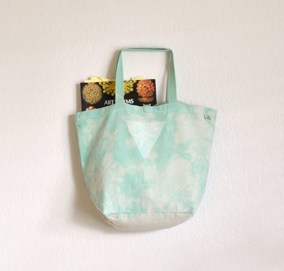 Mint Marbled Triangle Print Eco Friendly Canvas Giant Tote