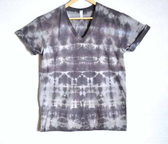 The Fractal Stone Series - Gray Hand Dyed Organic V-Neck Top