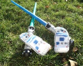 R2D2 Crochet Mittens (Made to order)