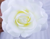 Large Pure White Rose Hair Clip // Realistic Looking Silk Flowers // Fashion Accessory // Wedding Style