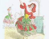 Vintage GRANDVILLE Botanical print 'FLeUR De GRENADIER' (Pomegranate), Perfect for Framing, Girls Room