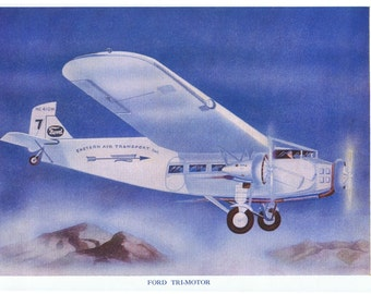 1940s Vintage AIRPLANE Print, FORD Tri-MOTOR, Beautifully Illustrated, Perfect for Framing, Office Decor, Nursery, Clouds, Sky Blue, Vivid