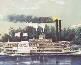 1952 CURRIER and IVES Steamboat Print, 'Rounding A Bend', River Boat, Ship, Colorful, Boys Room, Man Cave, Office Decor, Paddle Wheel