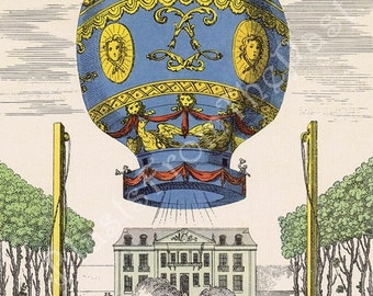 Vintage HOT AIR BALLOON Large Lithograph Print, 'Premier Voyage Aerien', Hard to Find, Perfect for Framing, Nursery, Kids Room, Mid Century