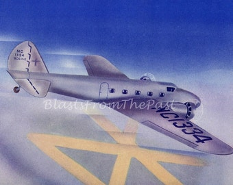 1940s Vintage AIRPLANE Print 'BOEING 247D', Perfect for Framing, Great for Boys Room or Nursery, Pilot, History, Office Decor, Vivid Colors