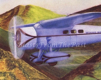 1940s Vintage AIRPLANE Print 'Lockheed Monoplane (Winnie Mae)', Nursery, Boys Room, Man Cave, Home Office, Colorful, Vivid Colors