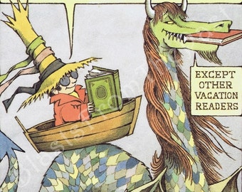 MAURICE SENDAK Large Poster Print 'Vacation Readers Have More Fun', Beautifully Illustrated, Dragon, Whimsical, Adorable, Colorful, Nursery
