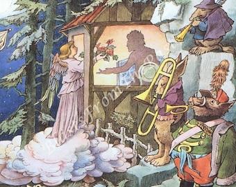 MAURICE SENDAK Large Vintage Poster Print, Music in the Park, Angel, Horn, Trumpet, Nursery Decor, Kids Room, Adorable, Third Symphony