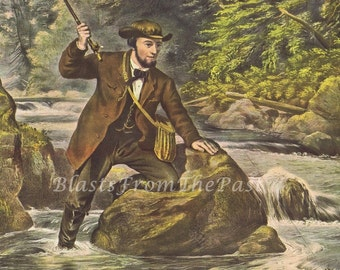 Vintage BROOK TROUT FISHING Print, Perfect for Framing, Man Cave, Fisherman, Stream, Nature, Great Gift for Dad or Grandpa, Outdoors