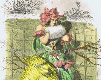 Vintage GRANDVILLE Botanical Print 'Fleur de Pecher', Perfect for Framing, Playful, Victorian, Peach Blossom, Beautifully Illustrated