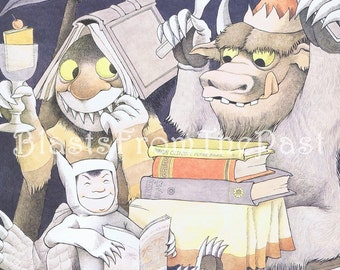 MAURICE SENDAK Large Vintage Poster Print 'Reading is Fun', Beautifully Illustrated, Adorable, Whimsical, Playful, Classroom, Wild Thing