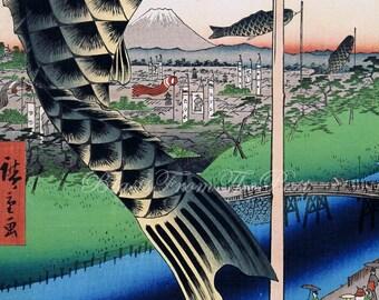 HIROSHIGE 'One Hundred Famous Views of Edo' Print -- 'Suido Bridge and the Surugadai Quarter'  c.1857, Perfect for Framing, Vivid Colors
