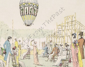 HOT AIR BALLOON Vintage Lithograph Print, 'Montgolfiere lancee a Ticoli', Beautifully Illustrated, Frameworthy, Kids Room, Nursery, France