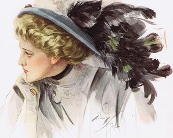 HARRISON FISHER Lithograph 'Feather In My Hat', from 1909 American Beauties book, Perfect for Framing, Edwardian, Victorian, Great Gift